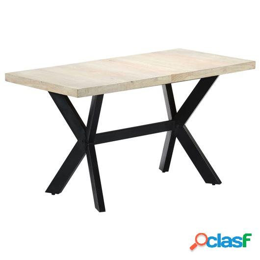 Mesa de comedor madera maciza de mango blanqueada 140x70x75