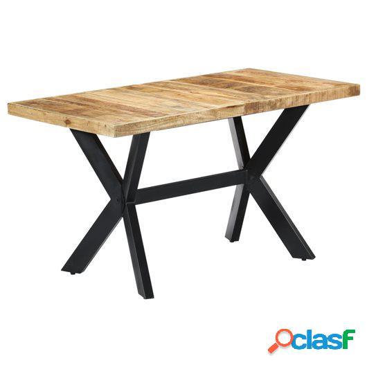 Mesa de comedor madera maciza de mango en bruto 140x70x75 cm