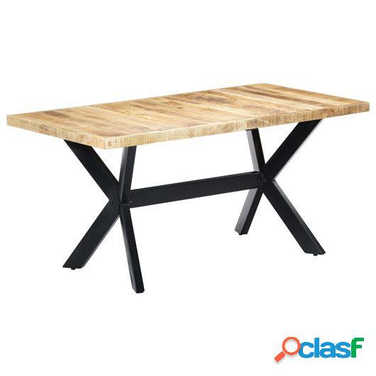 Mesa de comedor madera maciza de mango en bruto 160x80x75 cm
