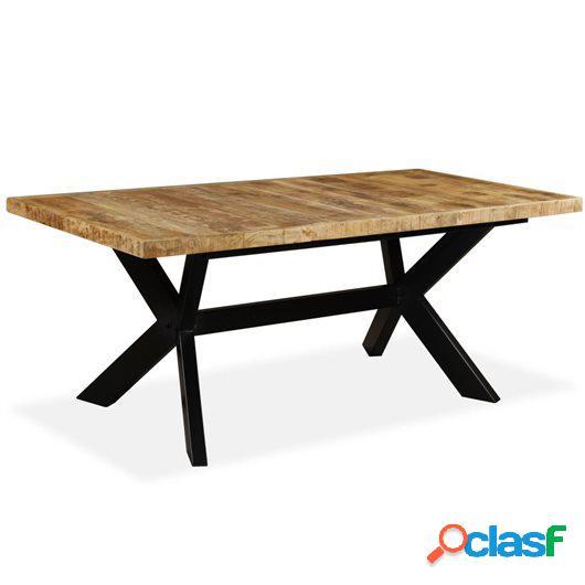 Mesa de comedor madera maciza de mango y cruz de acero 180