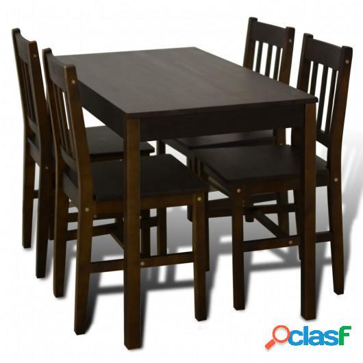 Mesa de comedor y 4 sillas madera marrón