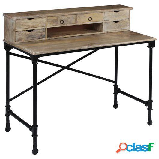 Mesa de escritorio madera de mango maciza y acero 110x50x96