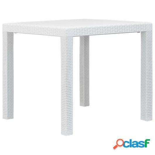 Mesa de jardín de plástico aspecto ratán blanco 79x79x72