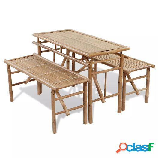 Mesa de jardín plegable con 2 bancos 100 cm de bambú