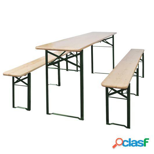 Mesa de jardín plegable con 2 bancos madera de abeto 220 cm