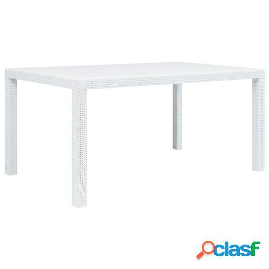 Mesa de jardín plástico aspecto de ratán blanco 150x90x72