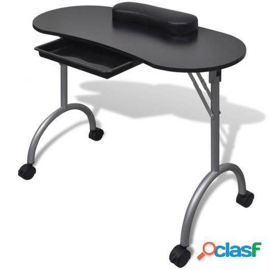 Mesa de manicura plegable con ruedas negra
