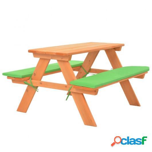 Mesa de pícnic infantil con bancos madera de abeto 89x79x50