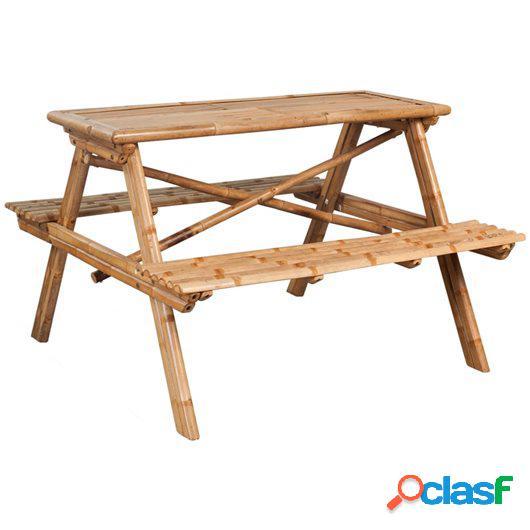 Mesa de picnic bambú 120x120x78 cm