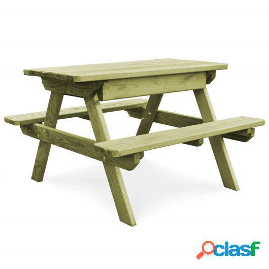 Mesa de picnic con bancos madera de pino impregnada FSC
