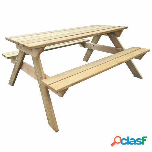 Mesa de picnic de madera de pino FSC 150x135x71,5 cm