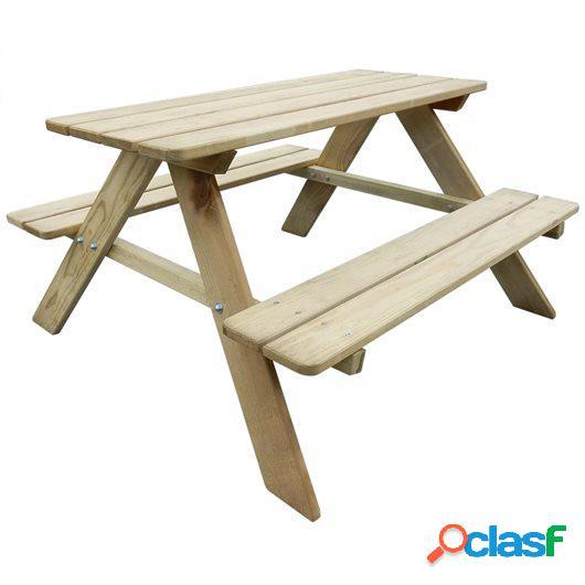 Mesa de picnic para niños 89x89,6x50,8 cm madera de pino