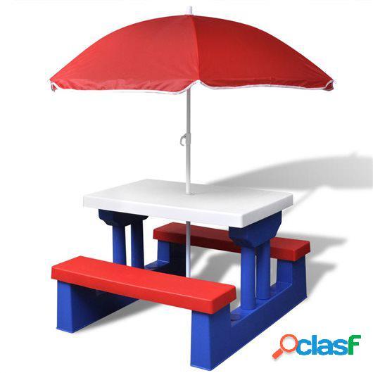 Mesa de picnic para niños con sombrilla