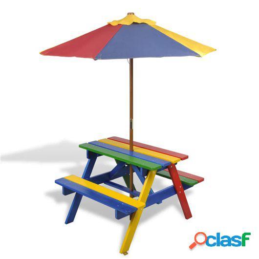 Mesa de picnic y bancos para niños con sombrilla 4 colores