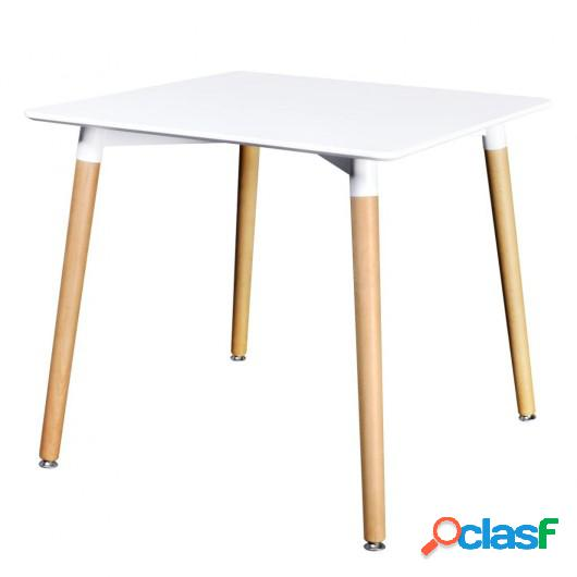Mesa de salón comedor cuadrada MDF blanca