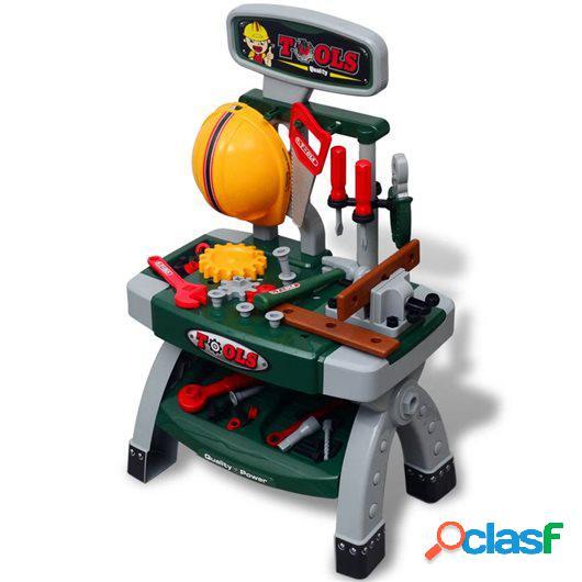 Mesa de trabajo de juguete para niños con herramientas