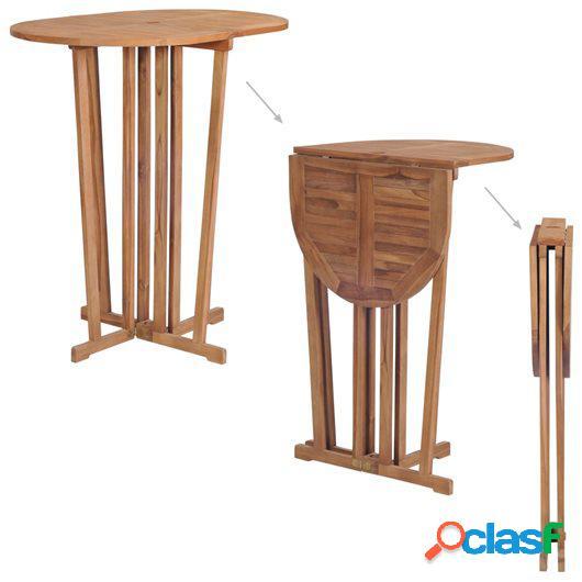 Mesa plegable de bar de madera de teca maciza 100x65x105 cm