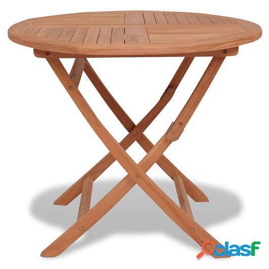 Mesa plegable de comedor de jardín teca maciza 85x76 cm