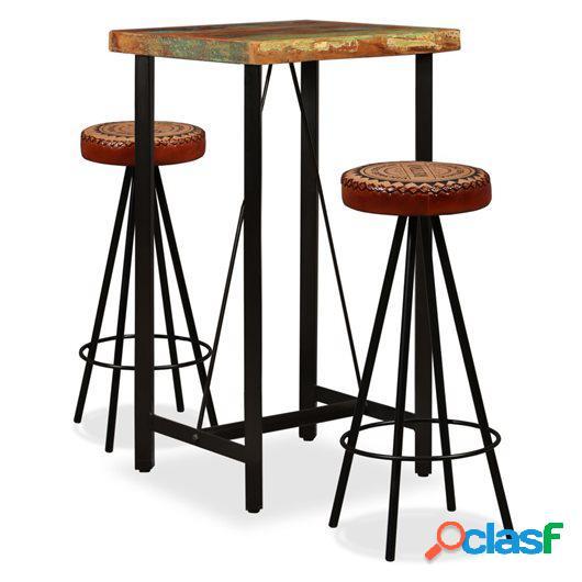 Mesa y 2 taburetes bar madera maciza reciclada cuero real