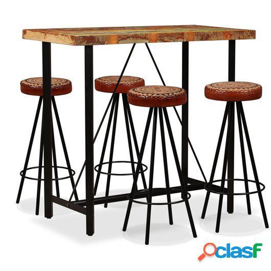 Mesa y 4 taburetes bar madera maciza reciclada cuero real