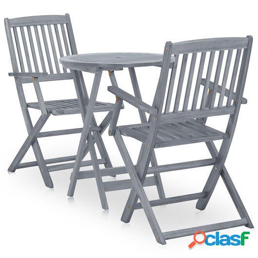 Mesa y sillas bistró de jardín 3 pzas madera maciza acacia