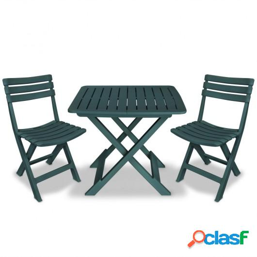 Mesa y sillas bistró de jardín plegables 3 pzas plástico