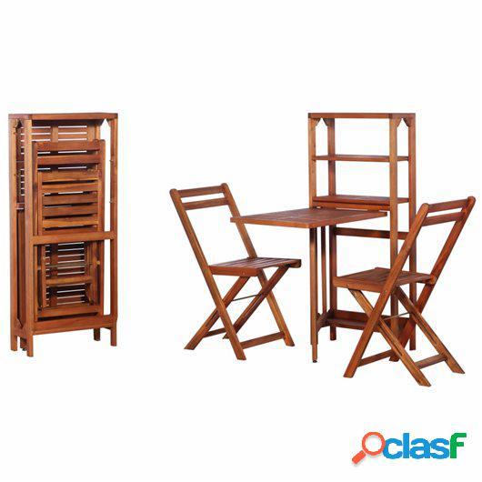 Mesa y sillas bistró plegables 3 pzas madera maciza de