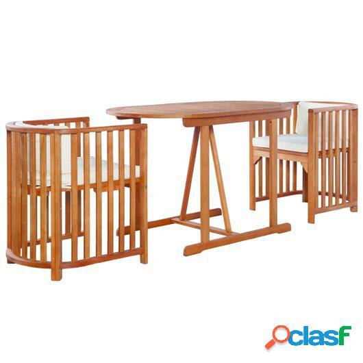 Mesa y sillas de jardín 3 piezas y cojines madera de