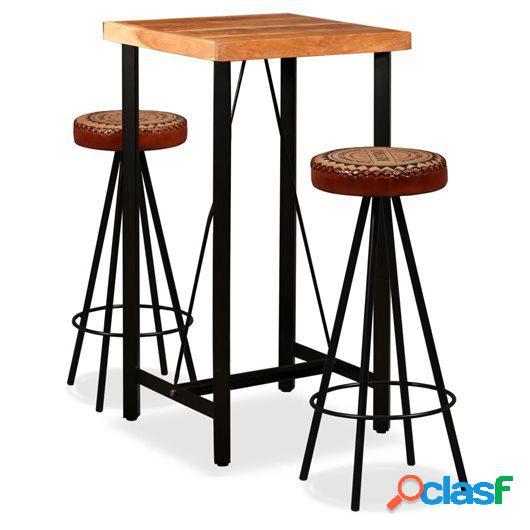 Mesa y taburetes bar madera maciza sheesham cuero real y