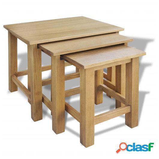 Mesas apilables 3 unidades madera maciza de roble