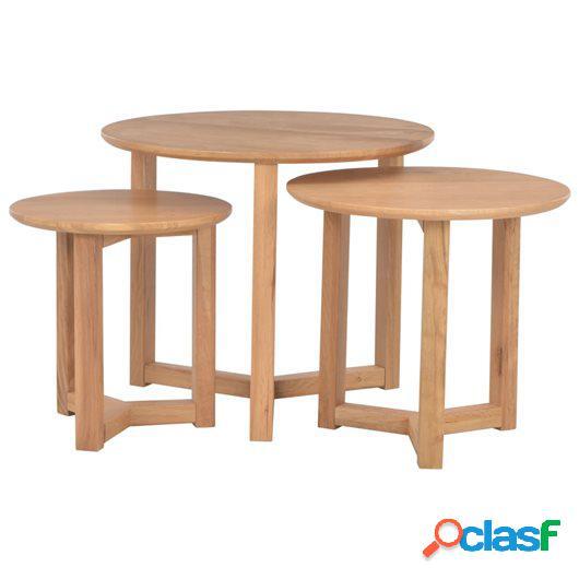 Mesas de centro de madera maciza de roble 3 unidades