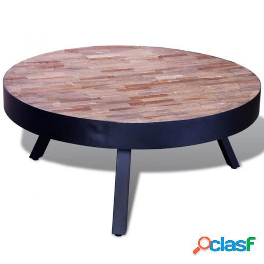 Mesita baja de centro redonda de madera de teca reciclada