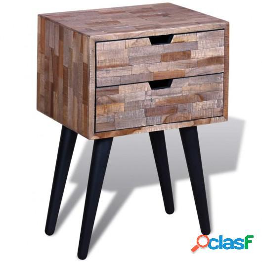 Mesita de noche con 2 cajones de madera de teca reciclada