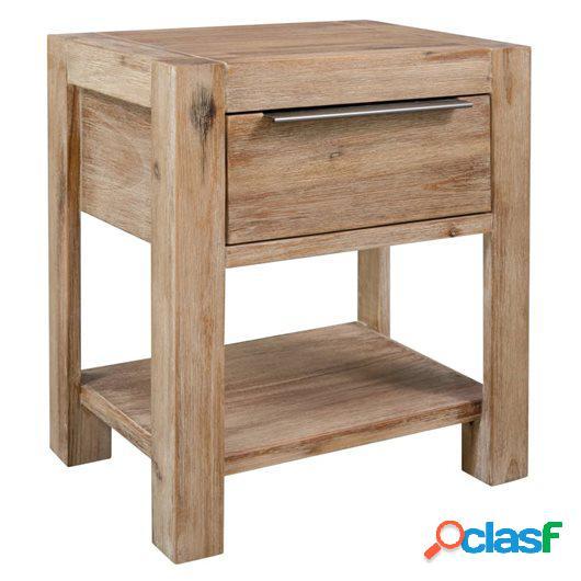 Mesita de noche con cajón madera maciza de acacia 40x30x48