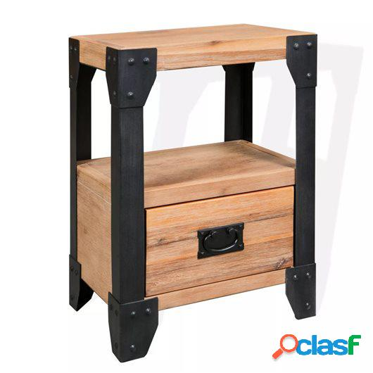 Mesita de noche de madera maciza acacia y acero 40x30x54 cm