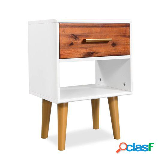 Mesita de noche de madera maciza de acacia 40x30x45 cm