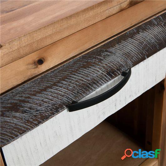 Mesita de noche de madera maciza de acacia 40x30x48 cm