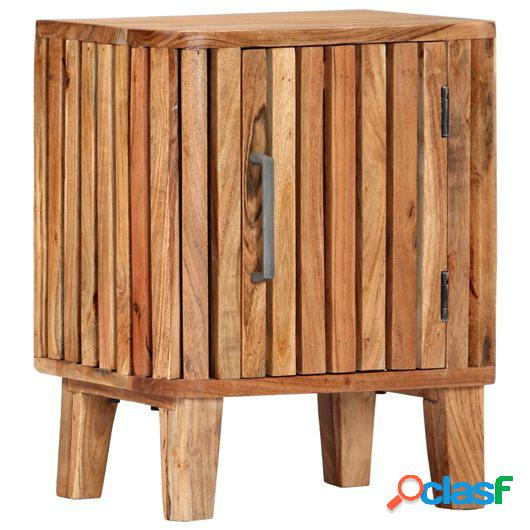 Mesita de noche de madera maciza de acacia 40x30x50 cm