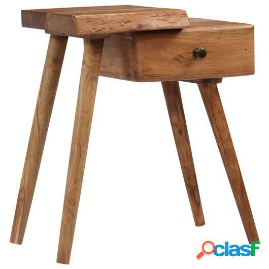 Mesita de noche de madera maciza de acacia 45x32x55 cm