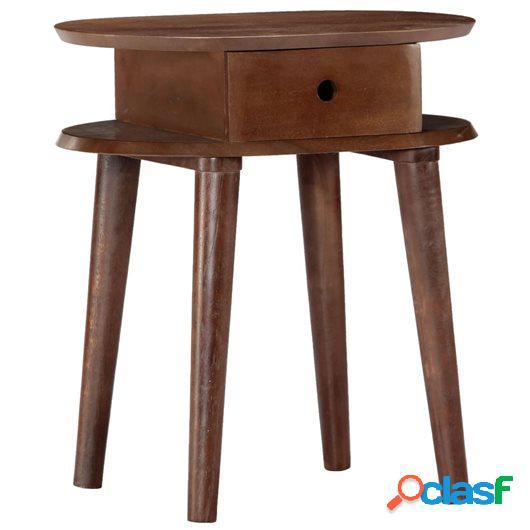 Mesita de noche de madera maciza de acacia 50x35x55 cm