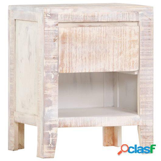 Mesita de noche de madera maciza de acacia blanca 40x30x50