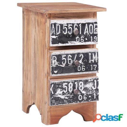 Mesita de noche de madera maciza reciclada 30x30x51 cm
