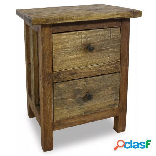 Mesita de noche de madera maciza reciclada 40x30x51 cm
