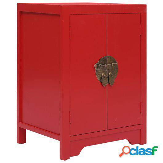 Mesita de noche madera de Paulownia rojo 38x28x52 cm