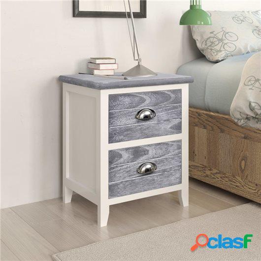 Mesita de noche madera de paulownia gris y blanca 38x28x45