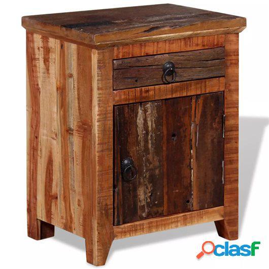 Mesita de noche madera maciza de acacia y durmientes de