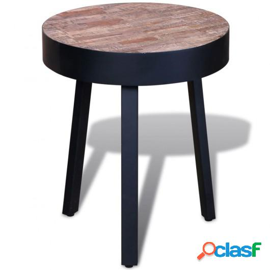 Mesita redonda de madera de teca reciclada