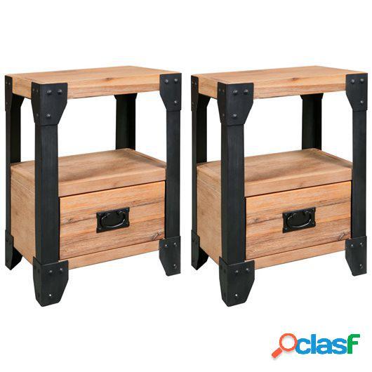 Mesitas de noche 2 uds madera maciza acacia y acero 40x30x54