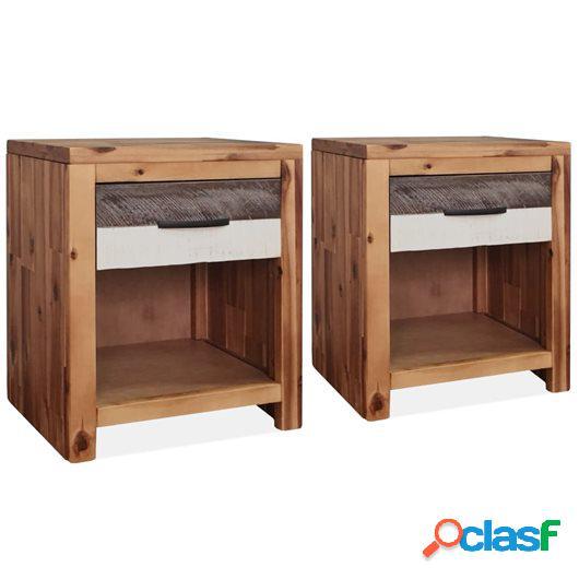 Mesitas de noche de madera maciza acacia 2 unidades 40x30x48