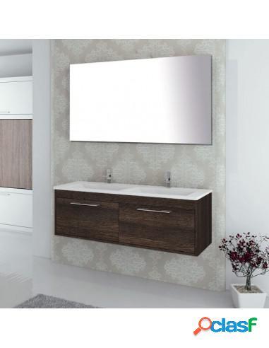 Mueble De Baño Dos Cajones Y Suspendido Con Lavabo Y Espejo